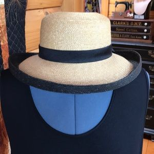 Straw Sun Hat w/ Turned Up Brim and Bow
